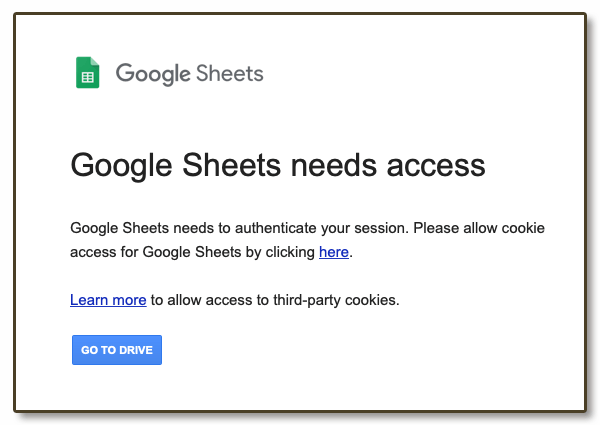 Google sheets alert Turn third-party cookies on or off